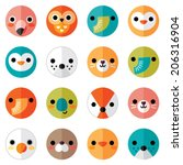 Stock vector vector set of flat animal and bird face icons in bright retro colors for stickers cards labels 206316904