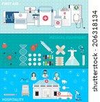 set of flat medical design...   Shutterstock .eps vector #206318134