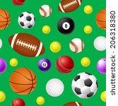 sports ball seamless pattern on ... | Shutterstock . vector #206318380