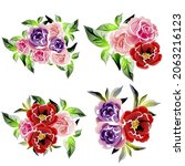 flowers set. collection of... | Shutterstock .eps vector #2063216123