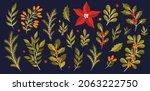 christmas floral plant set.new... | Shutterstock .eps vector #2063222750