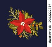 christmas floral plant isolated ... | Shutterstock .eps vector #2063222759
