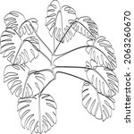 abstract one line art leaf.... | Shutterstock .eps vector #2063260670