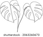 abstract one line art leaf.... | Shutterstock .eps vector #2063260673