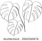 abstract one line art leaf.... | Shutterstock .eps vector #2063260676