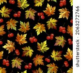 pattern with leaves and berries.... | Shutterstock .eps vector #2063272766