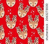 deer head pattern design... | Shutterstock .eps vector #2063273030