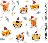 cute christmas tiger seamless... | Shutterstock .eps vector #2063276690