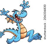 happy cartoon dragon. vector...   Shutterstock .eps vector #206336830