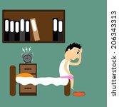 cartoon businessman wake up... | Shutterstock .eps vector #206343313