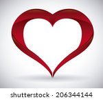 heart design over gray... | Shutterstock .eps vector #206344144