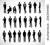 set of business men silhouettes ... | Shutterstock . vector #206344480