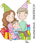 happy cartoon family with party ... | Shutterstock . vector #206350114