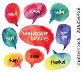 Watercolor Speech Bubbles Set....