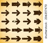 set of grungy vintage arrows on ... | Shutterstock . vector #206357470