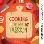 cooking card  poster design.... | Shutterstock .eps vector #206373970