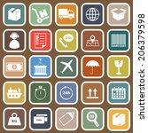 logistics falt icons on brown... | Shutterstock .eps vector #206379598
