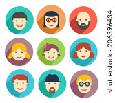 flat avatar icons  faces ... | Shutterstock .eps vector #206396434