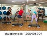 fitness class doing step... | Shutterstock . vector #206406709