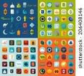 set of flat icons  ramadan... | Shutterstock . vector #206408146