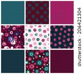 set of seamless patterns with... | Shutterstock .eps vector #206421304