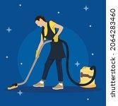 cleaner mopping girl flat vector | Shutterstock .eps vector #2064283460