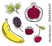 set of fruits and berries ...