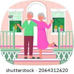 old people play video game.... | Shutterstock .eps vector #2064312620