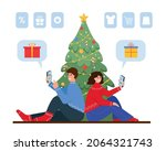christmas and new year online... | Shutterstock .eps vector #2064321743