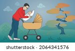 young father is holding the... | Shutterstock .eps vector #2064341576