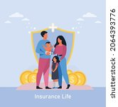 illustration of protecting with ... | Shutterstock .eps vector #2064393776