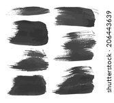 realistic black strokes painted ... | Shutterstock .eps vector #206443639