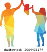 vector silhouette of a family... | Shutterstock .eps vector #2064438179