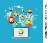 flat social media and network...   Shutterstock . vector #206444896
