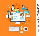 flat social media and network... | Shutterstock . vector #206444989