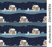 christmas house in the snow... | Shutterstock .eps vector #2064460856