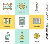 flat line icons set of... | Shutterstock .eps vector #206446210