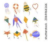 cartoon flying kites set.... | Shutterstock .eps vector #2064466166