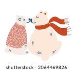 couple of polar bears in love.... | Shutterstock .eps vector #2064469826