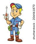 cute mechanic cartoon holding a ...