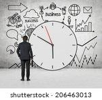 clock and business development...   Shutterstock . vector #206463013