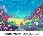 funny cartoon seascape. vector... | Shutterstock .eps vector #206463913