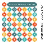 education and school icons set. ... | Shutterstock .eps vector #206471764