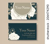 beautiful floral business card... | Shutterstock .eps vector #206474290