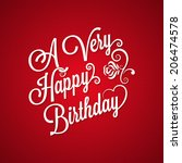 birthday vintage lettering... | Shutterstock . vector #206474578