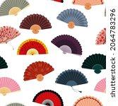 hand fan on seamless pattern....   Shutterstock .eps vector #2064783296