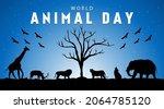 world animal day theme. vector... | Shutterstock .eps vector #2064785120