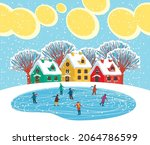 winter landscape with cute... | Shutterstock .eps vector #2064786599