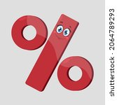 smiling cartoon percent icon... | Shutterstock .eps vector #2064789293