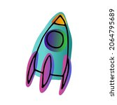 bright space doodle sticker.... | Shutterstock .eps vector #2064795689